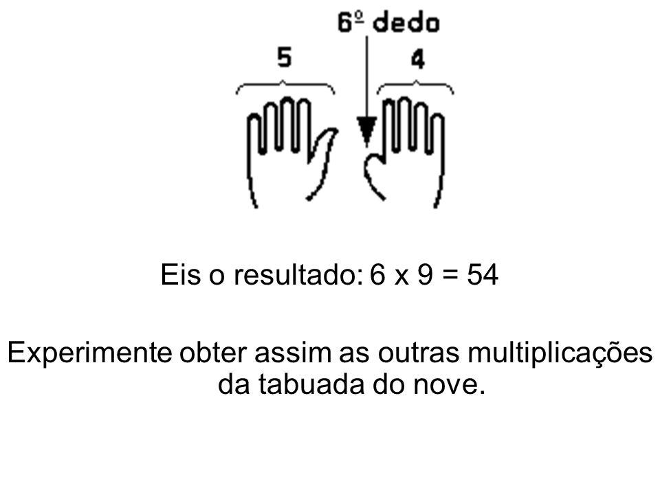 Experimente obter assim as outras multiplicações da tabuada do nove.