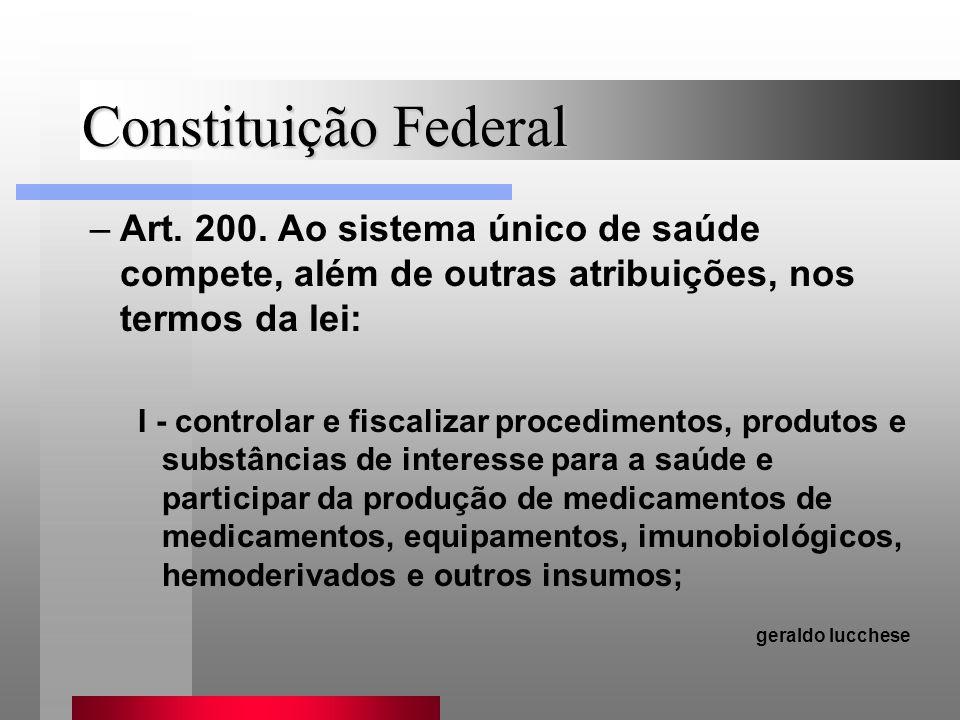 Constituição Federal Art. 200. Ao sistema único de saúde compete, além de outras atribuições, nos termos da lei: