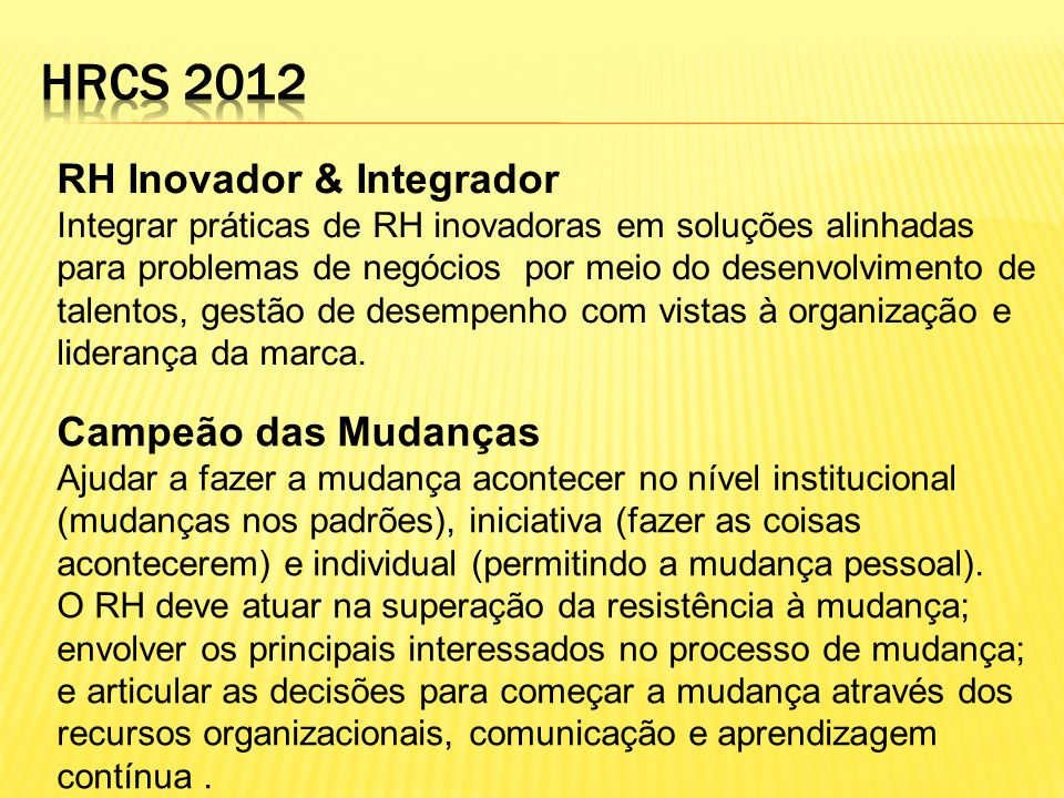 Hrcs 2012 RH Inovador & Integrador Campeão das Mudanças