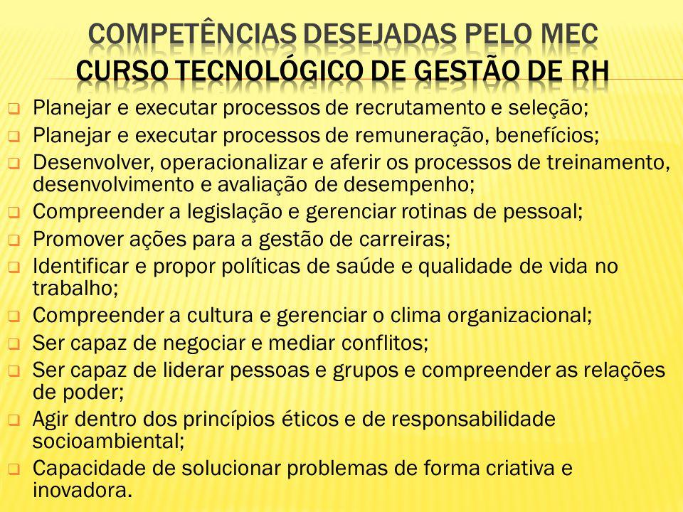 COMPETÊNCIAS DESEJADAS PELO MEC curso tecnológico de gestão de rh