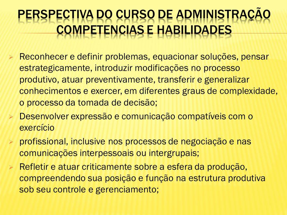 Perspectiva do curso de ADMINISTRAÇÃO competencias e habilidades