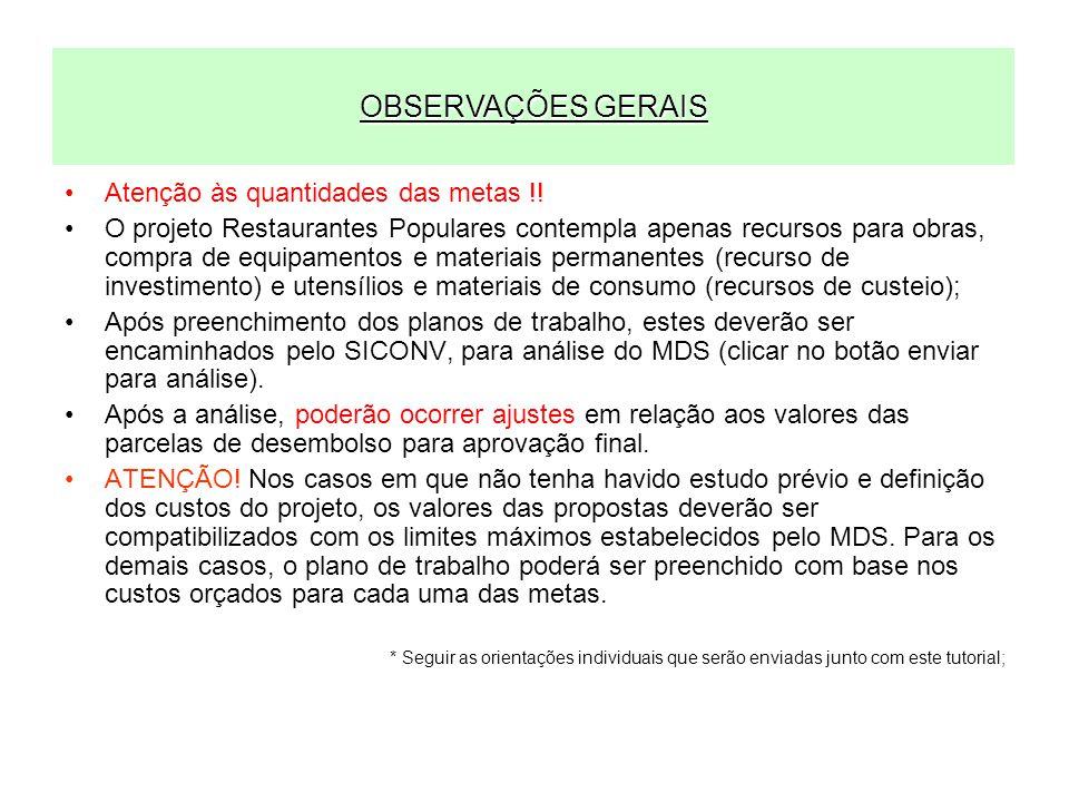 OBSERVAÇÕES GERAIS Atenção às quantidades das metas !!