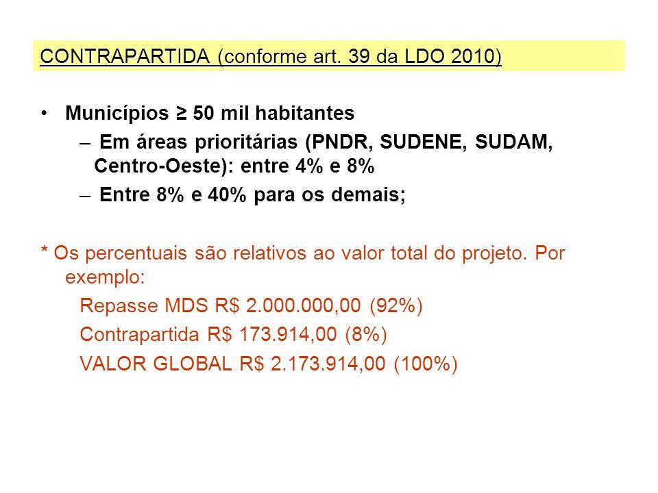 CONTRAPARTIDA (conforme art. 39 da LDO 2010)