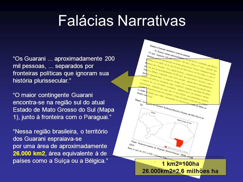 Falácias Narrativas Os Guarani ... aproximadamente 200 mil pessoas, ... separados por.