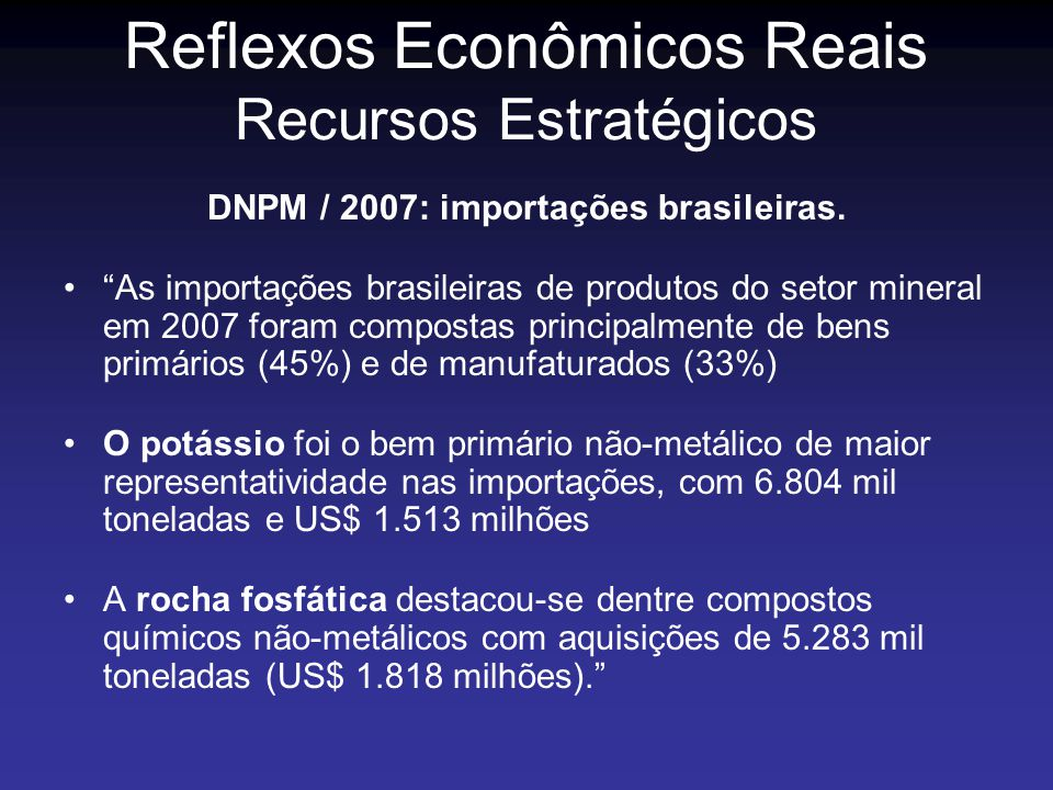 DNPM / 2007: importações brasileiras.