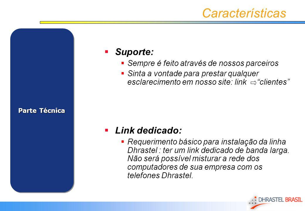 Características Suporte: Link dedicado: