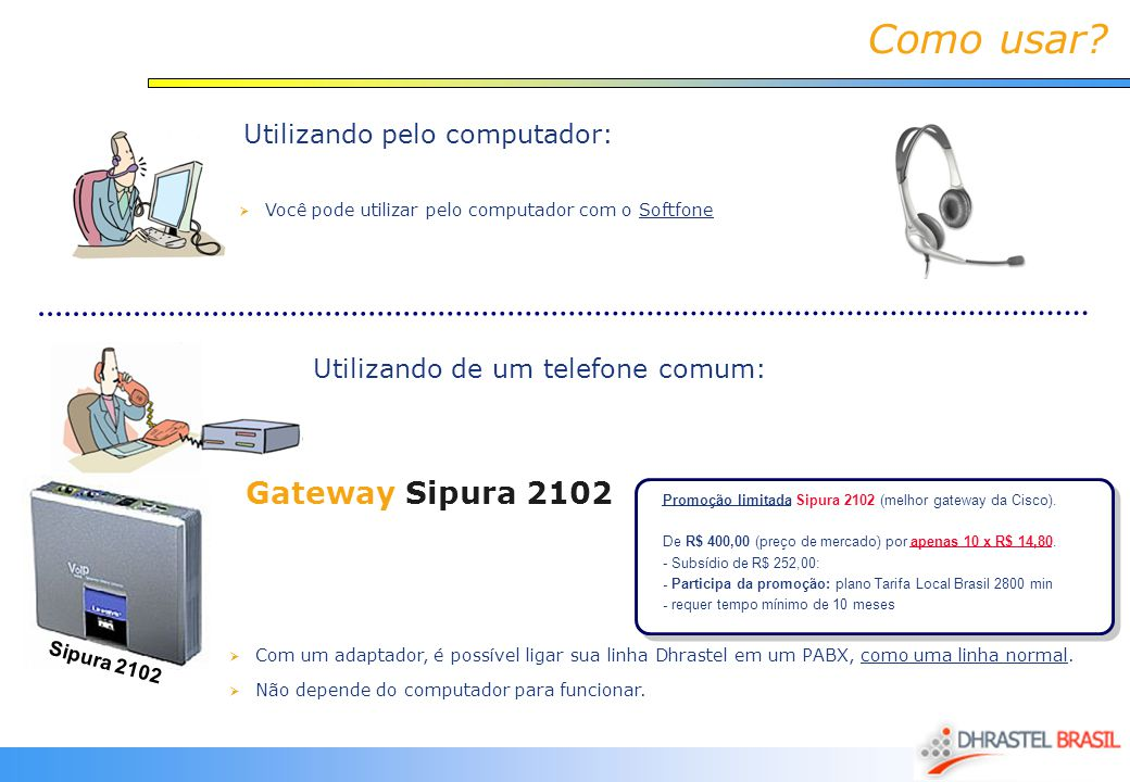 Como usar Gateway Sipura 2102 Utilizando pelo computador: