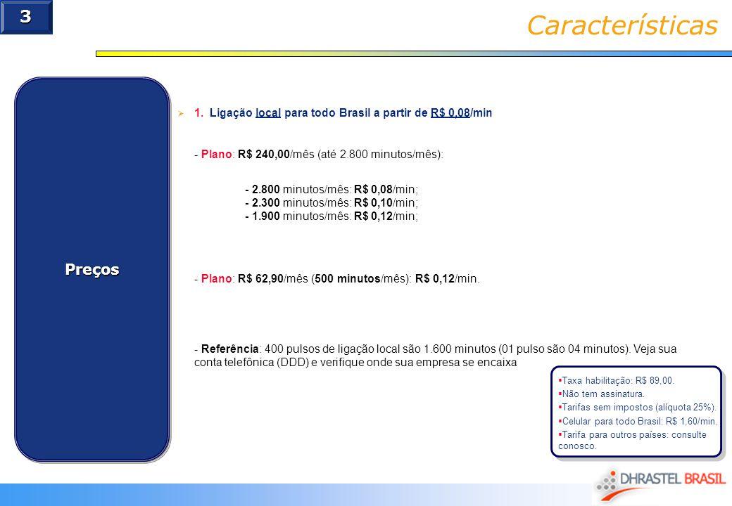 Características 3 Preços