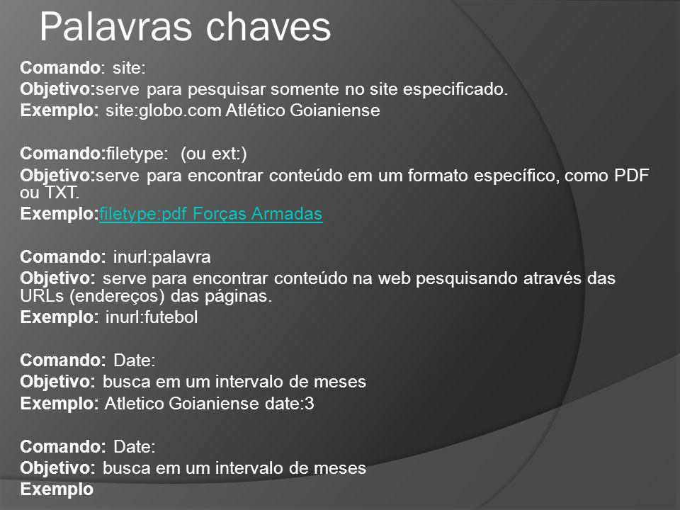 Palavras chaves Comando: site: