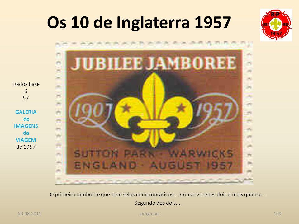 Os 10 de Inglaterra 1957 Dados base 6 57 GALERIA de IMAGENS da VIAGEM