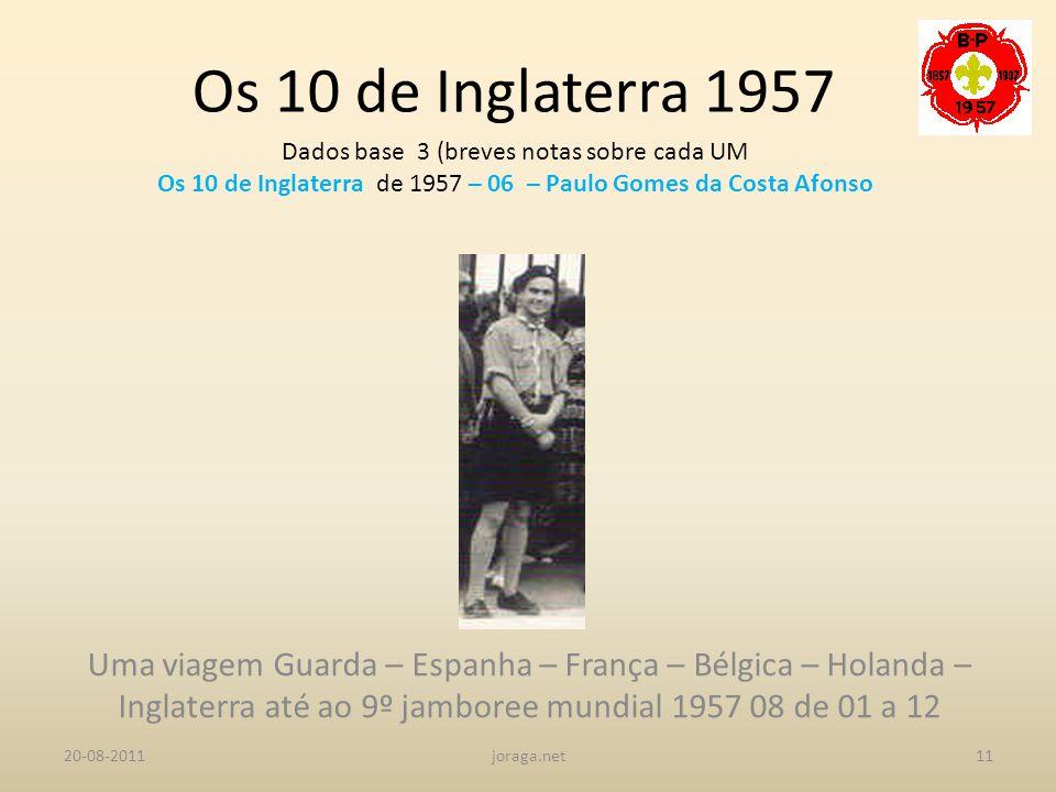 Os 10 de Inglaterra 1957 Dados base 3 (breves notas sobre cada UM. Os 10 de Inglaterra de 1957 – 06 – Paulo Gomes da Costa Afonso.