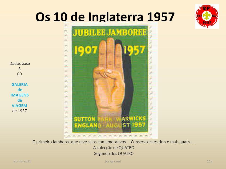 Os 10 de Inglaterra 1957 Dados base 6 60 GALERIA de IMAGENS da VIAGEM