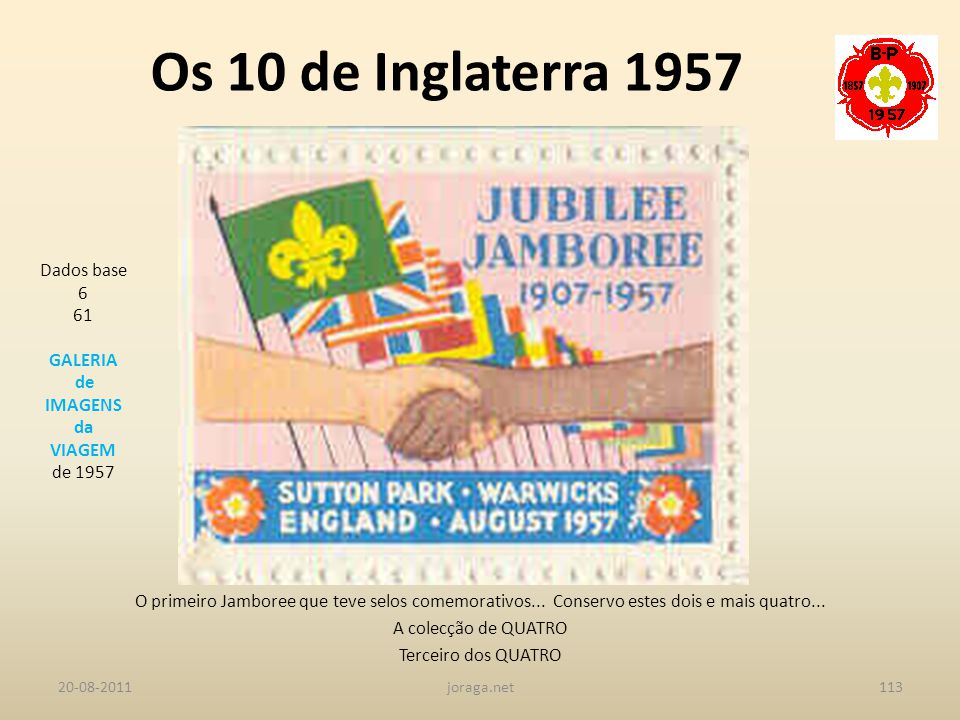 Os 10 de Inglaterra 1957 Dados base 6 61 GALERIA de IMAGENS da VIAGEM