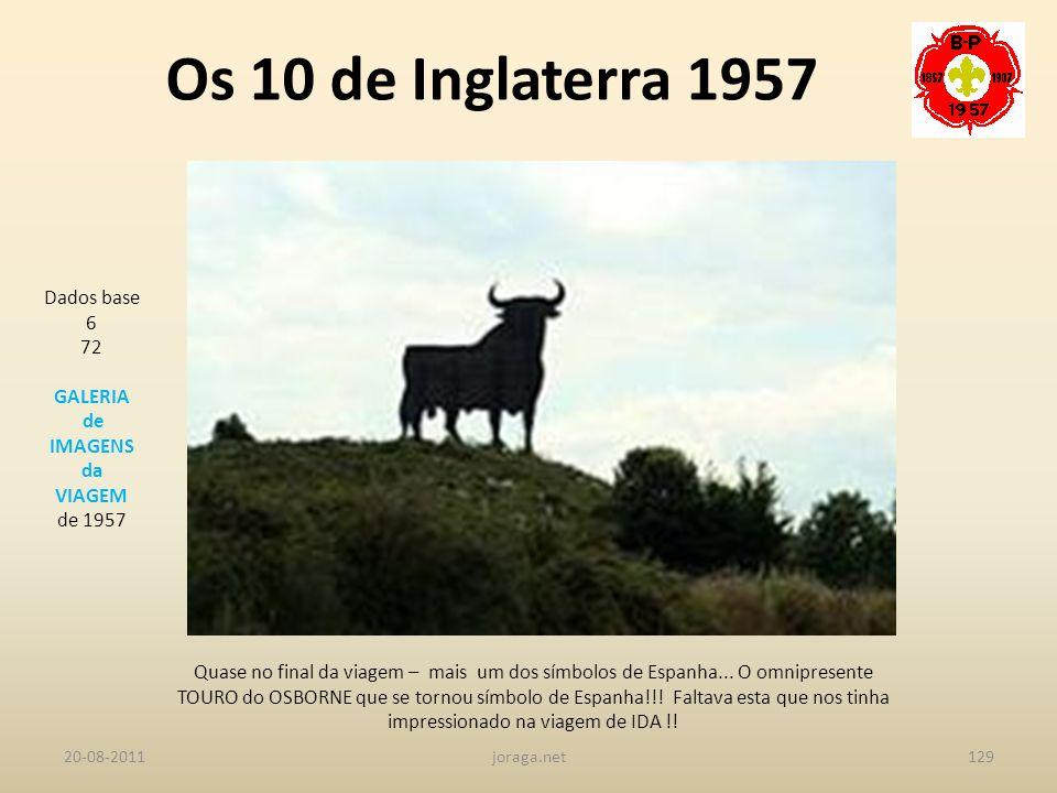 Os 10 de Inglaterra 1957 Dados base 6 72 GALERIA de IMAGENS da VIAGEM