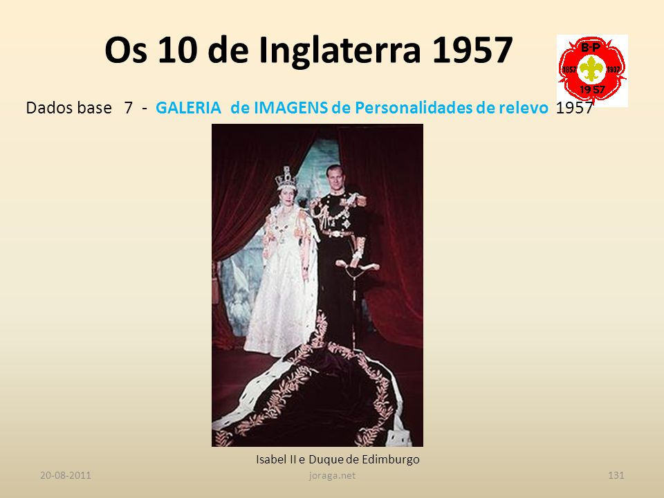 Os 10 de Inglaterra 1957 Dados base 7 - GALERIA de IMAGENS de Personalidades de relevo 1957. Isabel II e Duque de Edimburgo.