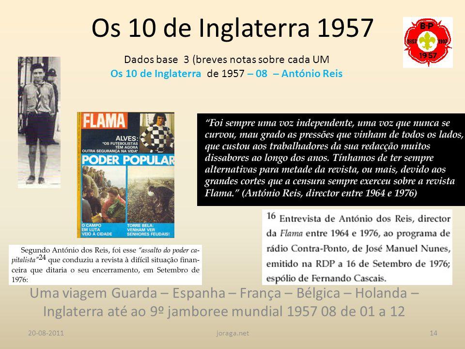 Os 10 de Inglaterra 1957 Dados base 3 (breves notas sobre cada UM. Os 10 de Inglaterra de 1957 – 08 – António Reis.