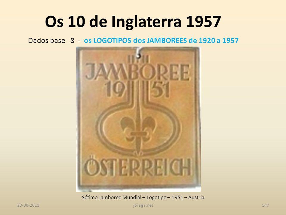Os 10 de Inglaterra 1957 Dados base 8 - os LOGOTIPOS dos JAMBOREES de 1920 a 1957. Sétimo Jamboree Mundial – Logotipo – 1951 – Austria.
