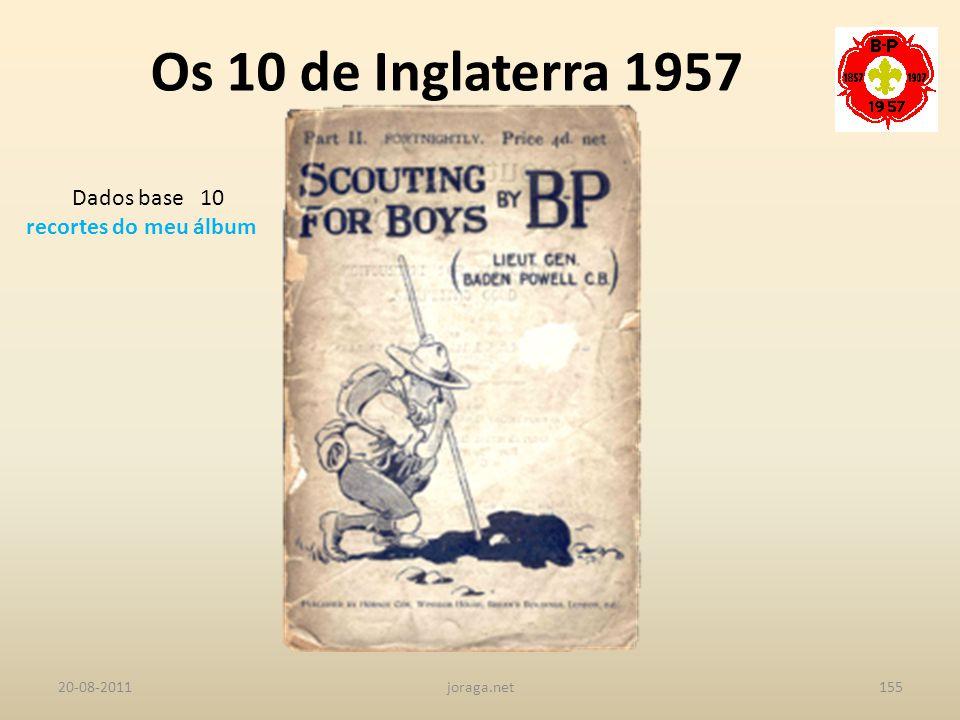 Os 10 de Inglaterra 1957 Dados base 10 recortes do meu álbum