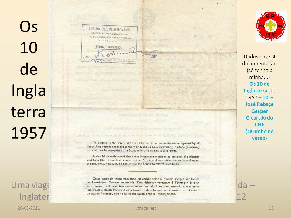 Os 10 de Inglaterra 1957 Dados base 4 documentação (só tenho a minha...) Os 10 de Inglaterra de 1957 – 10 – José Rabaça Gaspar.