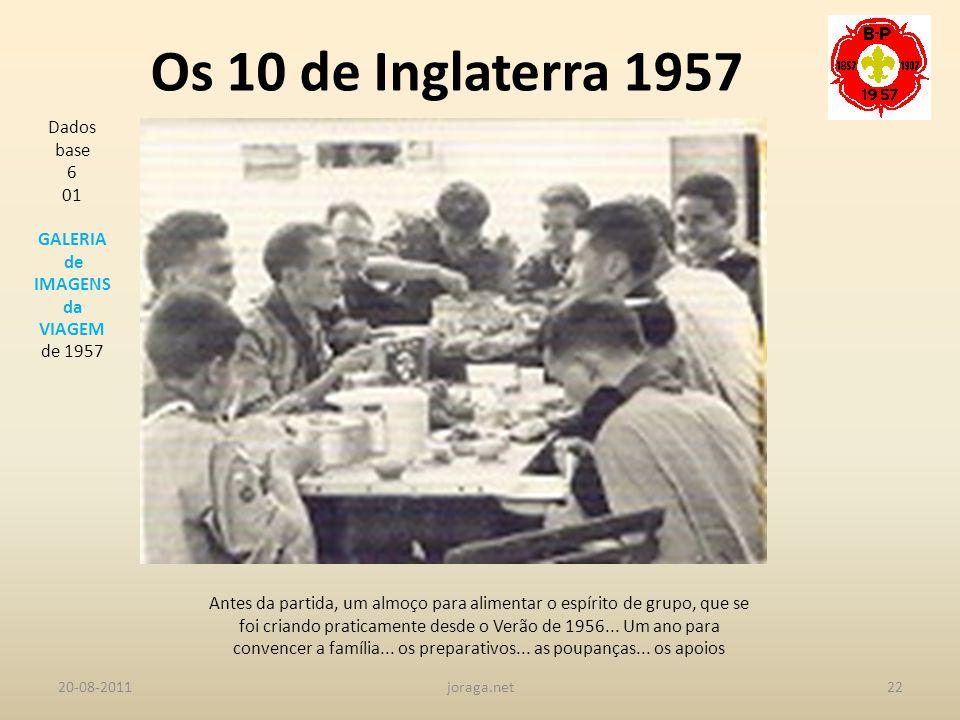 Os 10 de Inglaterra 1957 Dados base 6 01 GALERIA de IMAGENS da VIAGEM