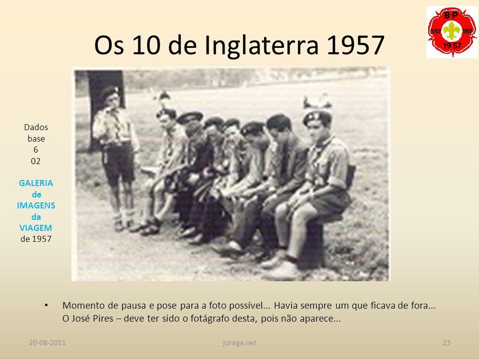 Os 10 de Inglaterra 1957 Dados base. 6. 02. GALERIA. de IMAGENS. da. VIAGEM. de 1957.