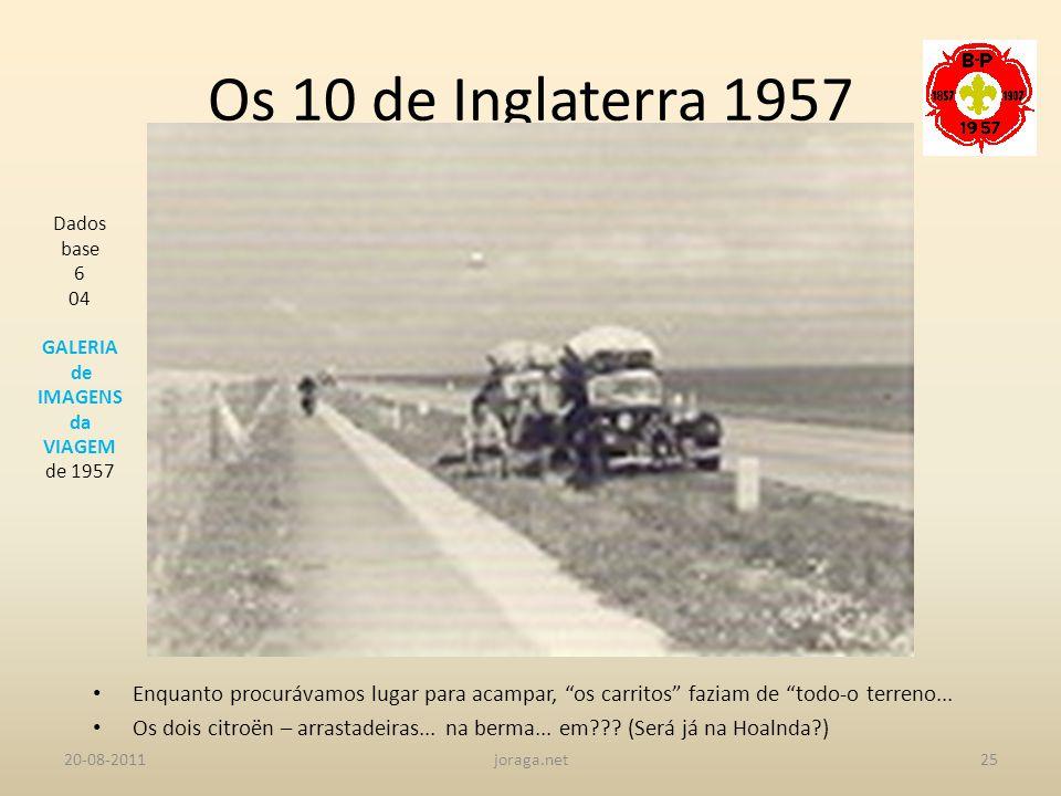 Os 10 de Inglaterra 1957 Dados base. 6. 04. GALERIA. de IMAGENS. da. VIAGEM. de 1957.