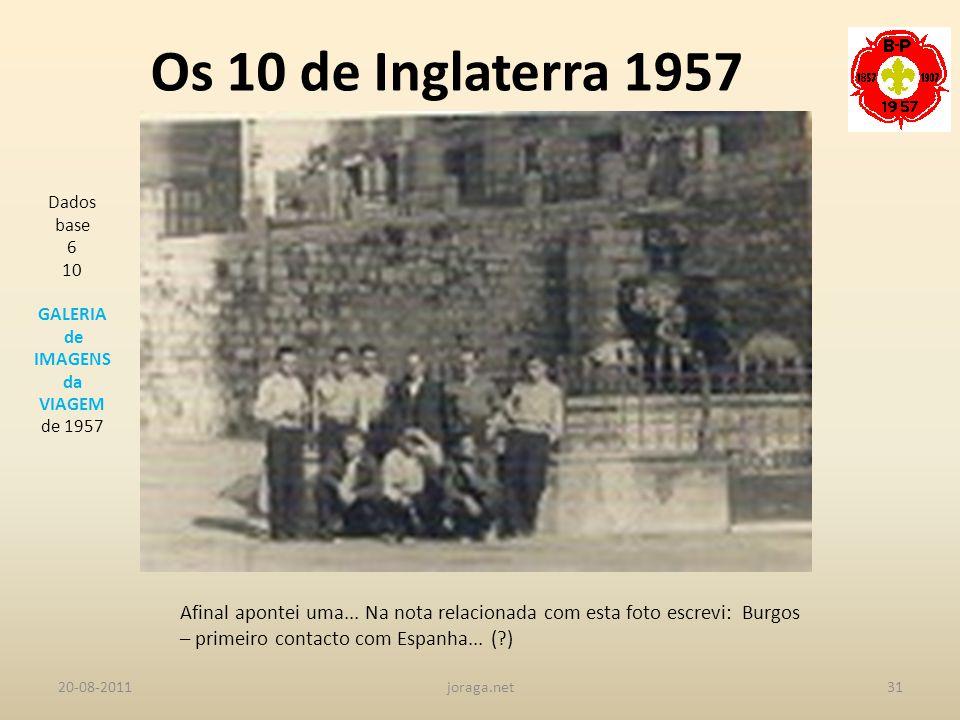 Os 10 de Inglaterra 1957 Dados base. 6. 10. GALERIA. de IMAGENS. da. VIAGEM. de 1957.