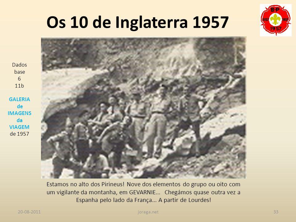 Os 10 de Inglaterra 1957 Dados base. 6. 11b. GALERIA. de IMAGENS. da. VIAGEM. de 1957.
