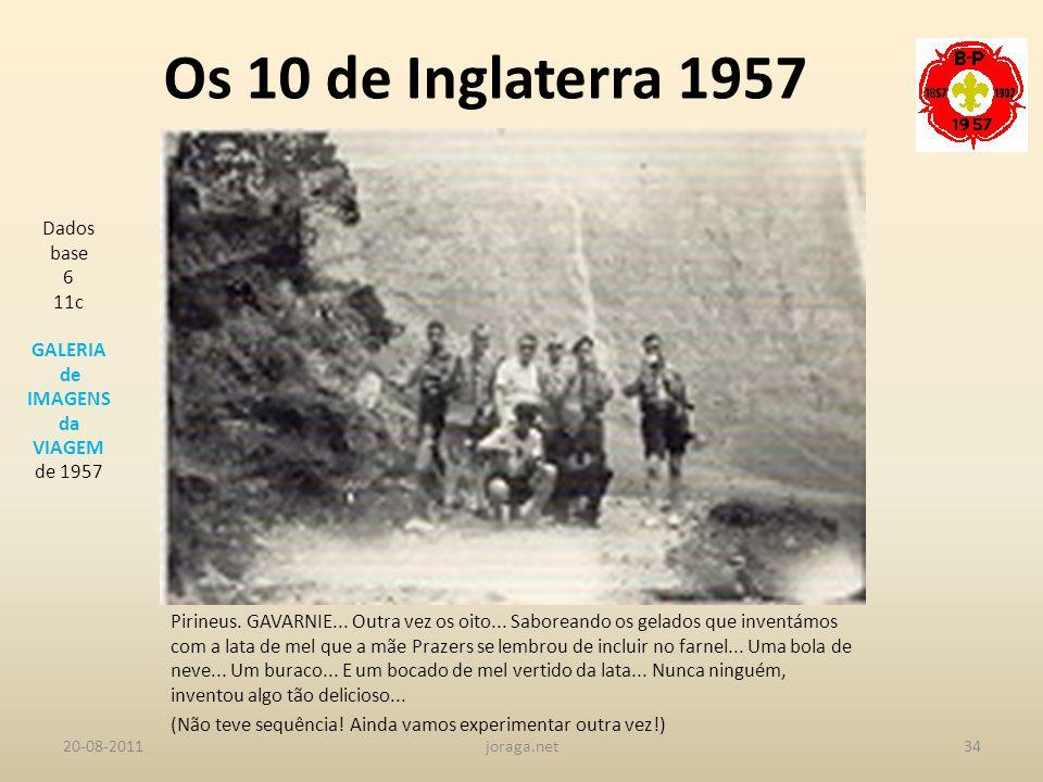 Os 10 de Inglaterra 1957 Dados base 6 11c GALERIA de IMAGENS da VIAGEM