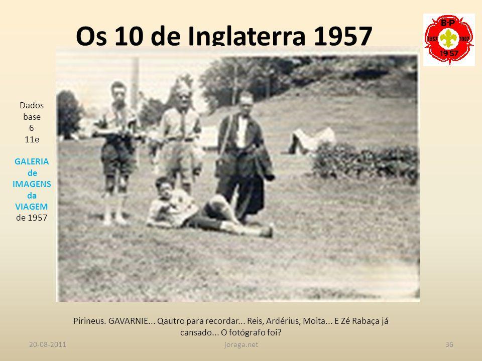 Os 10 de Inglaterra 1957 Dados base 6 11e GALERIA de IMAGENS da VIAGEM