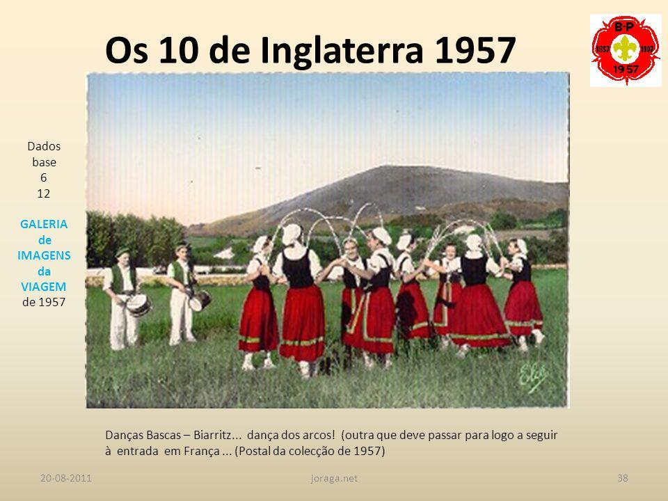 Os 10 de Inglaterra 1957 Dados base 6 12 GALERIA de IMAGENS da VIAGEM