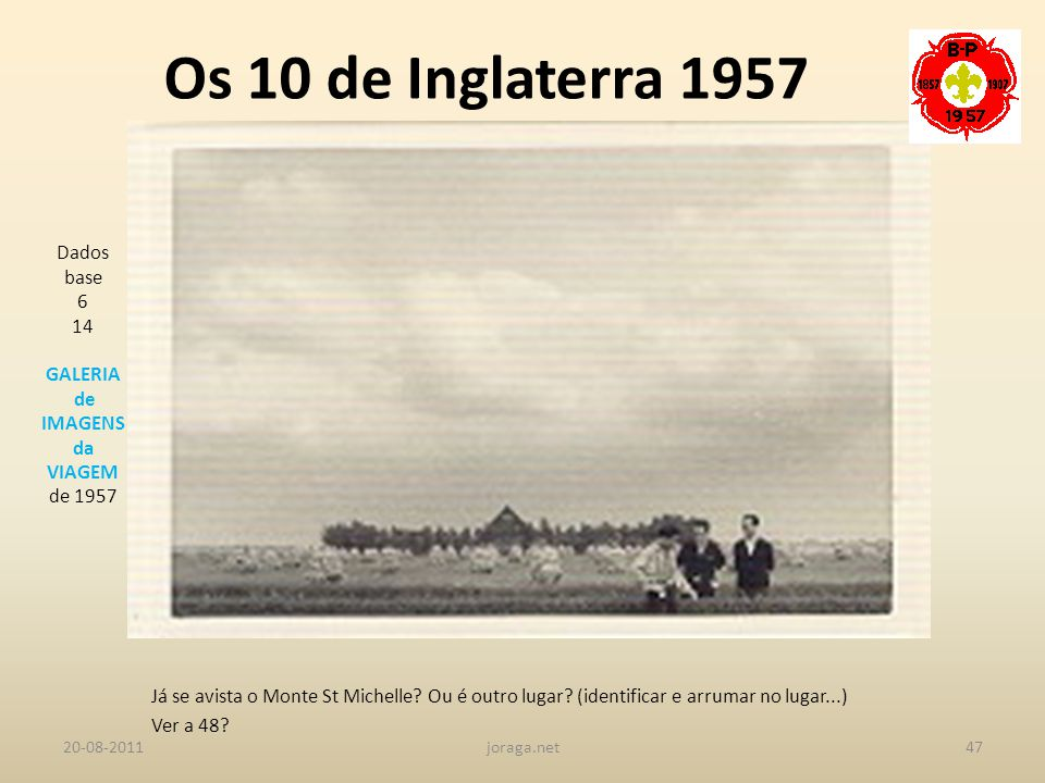 Os 10 de Inglaterra 1957 Dados base 6 14 GALERIA de IMAGENS da VIAGEM
