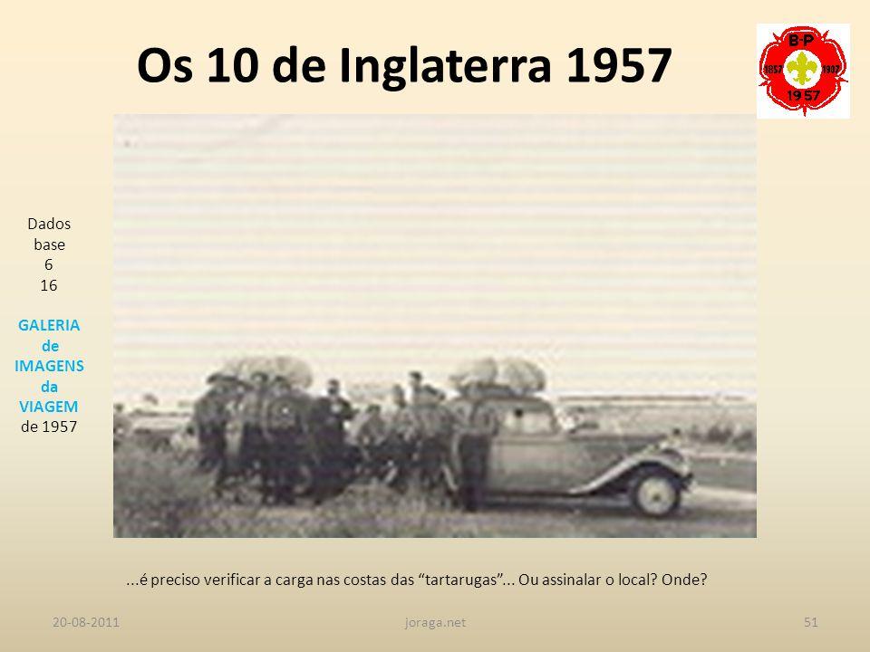 Os 10 de Inglaterra 1957 Dados base 6 16 GALERIA de IMAGENS da VIAGEM