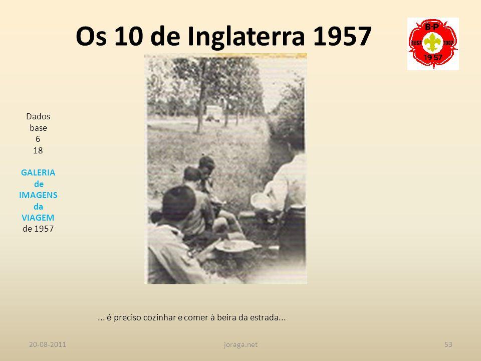Os 10 de Inglaterra 1957 Dados base 6 18 GALERIA de IMAGENS da VIAGEM