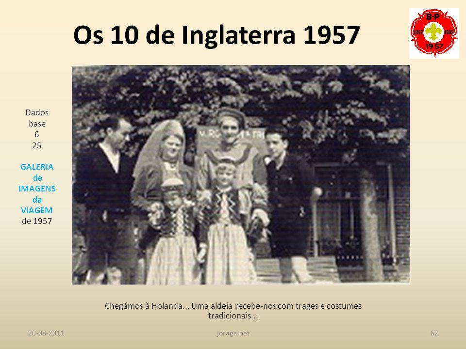 Os 10 de Inglaterra 1957 Dados base 6 25 GALERIA de IMAGENS da VIAGEM