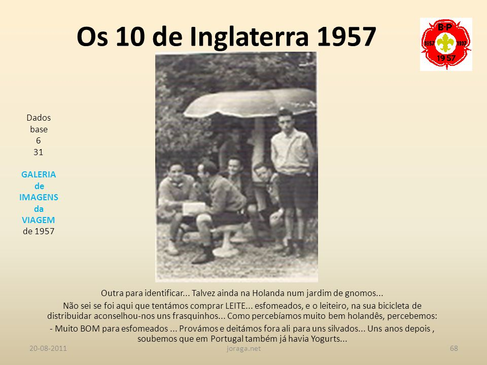 Os 10 de Inglaterra 1957 Dados base 6 31 GALERIA de IMAGENS da VIAGEM