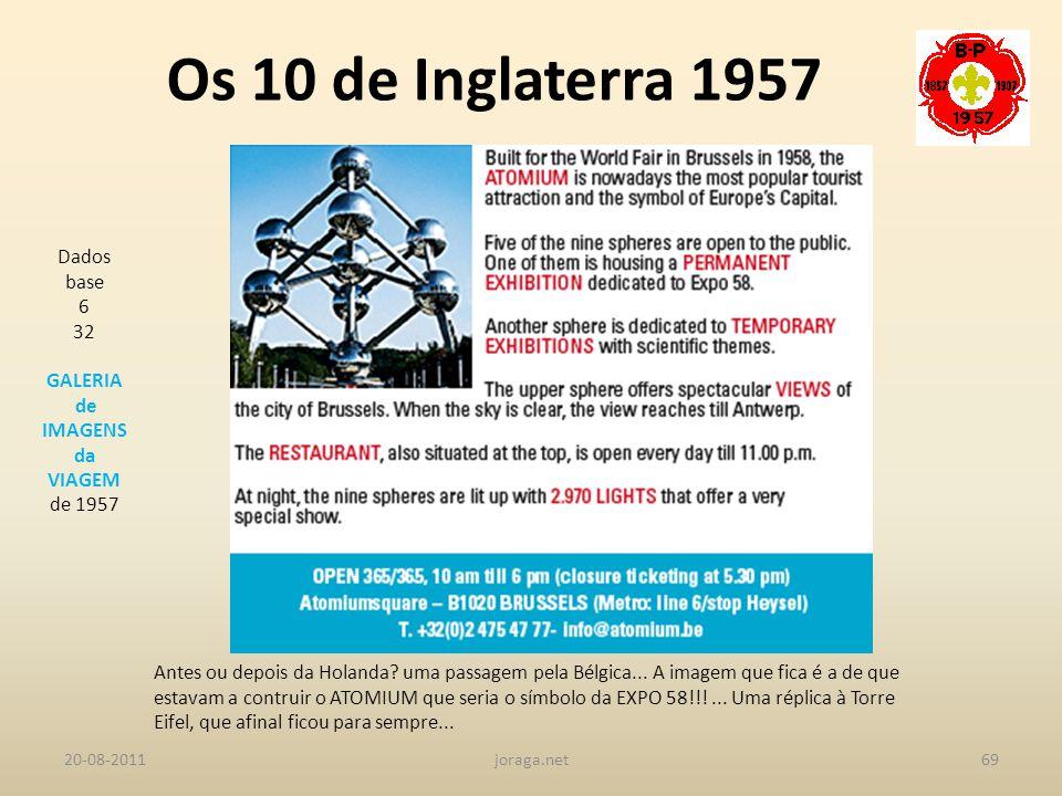 Os 10 de Inglaterra 1957 Dados base 6 32 GALERIA de IMAGENS da VIAGEM