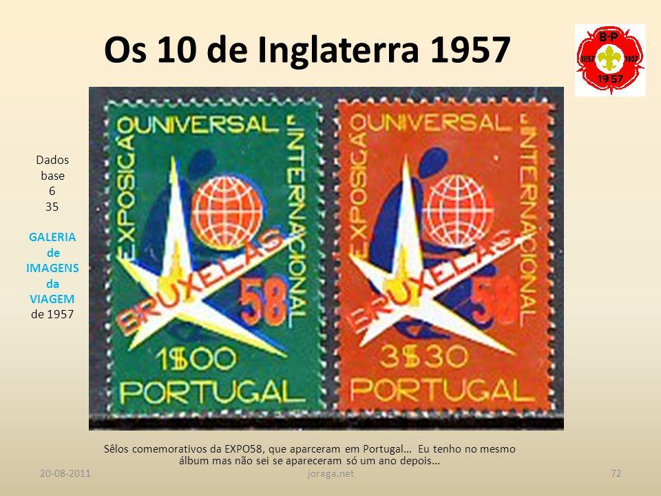 Os 10 de Inglaterra 1957 Dados base 6 35 GALERIA de IMAGENS da VIAGEM