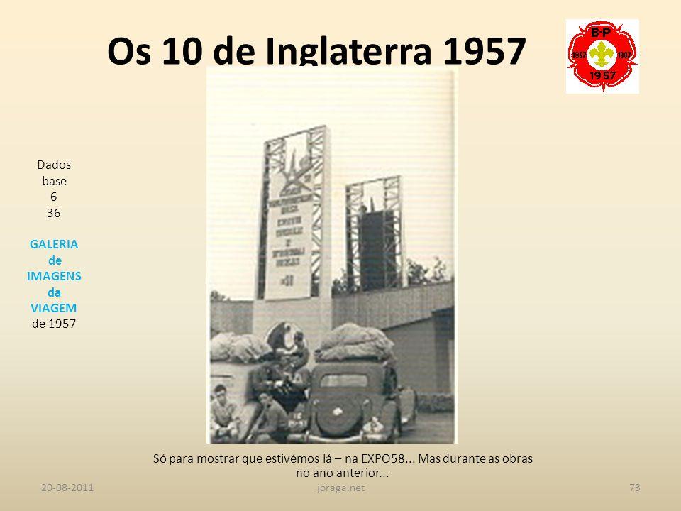 Os 10 de Inglaterra 1957 Dados base 6 36 GALERIA de IMAGENS da VIAGEM