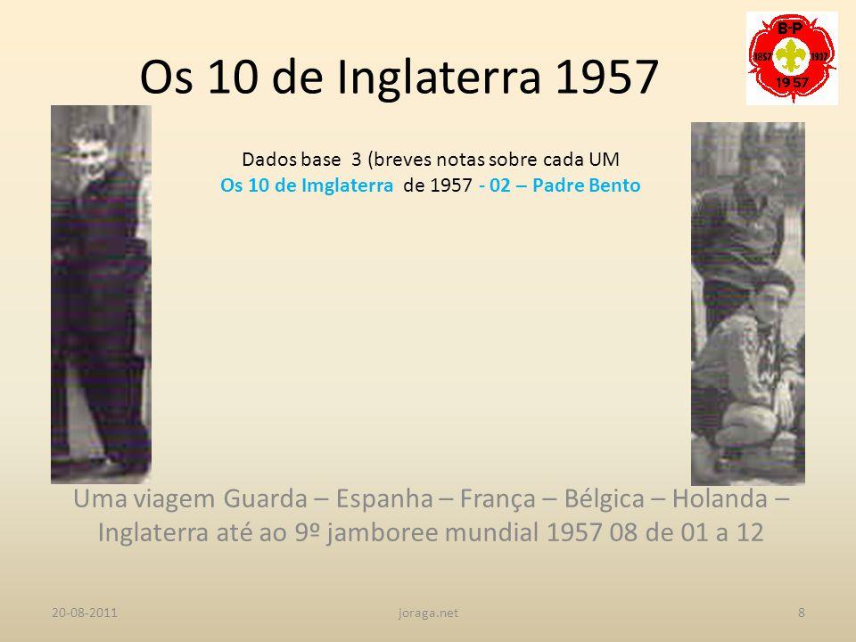 Os 10 de Inglaterra 1957 Dados base 3 (breves notas sobre cada UM. Os 10 de Imglaterra de 1957 - 02 – Padre Bento.