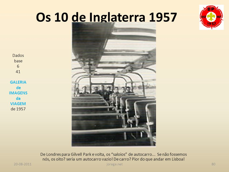 Os 10 de Inglaterra 1957 Dados base 6 41 GALERIA de IMAGENS da VIAGEM