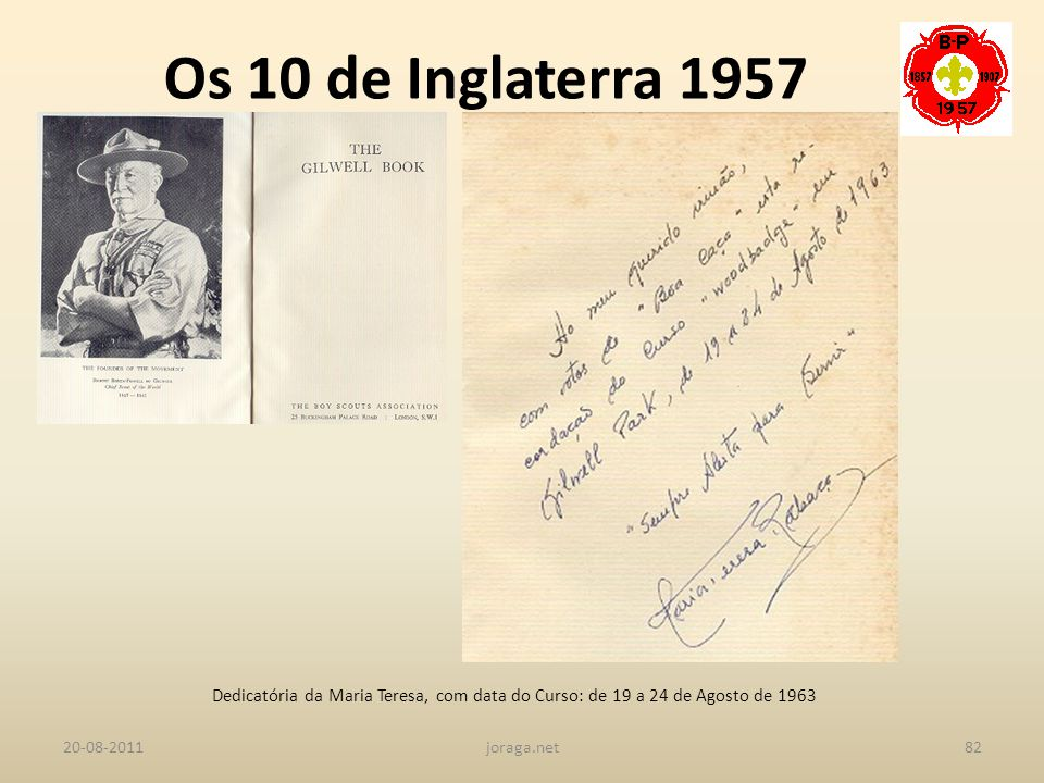 Os 10 de Inglaterra 1957 Dedicatória da Maria Teresa, com data do Curso: de 19 a 24 de Agosto de 1963.