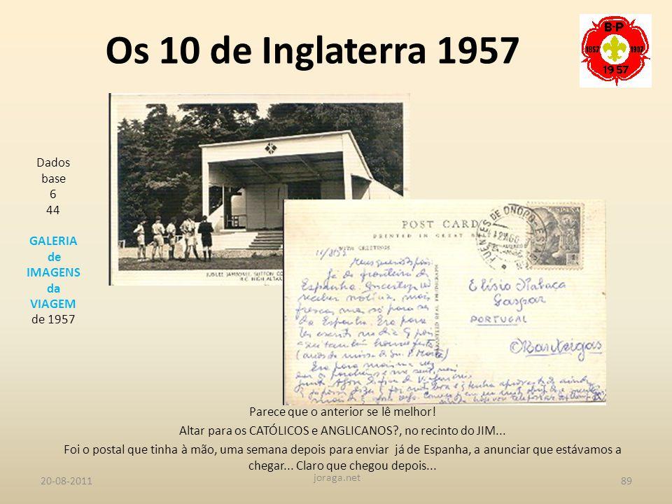 Os 10 de Inglaterra 1957 Dados base 6 44 GALERIA de IMAGENS da VIAGEM