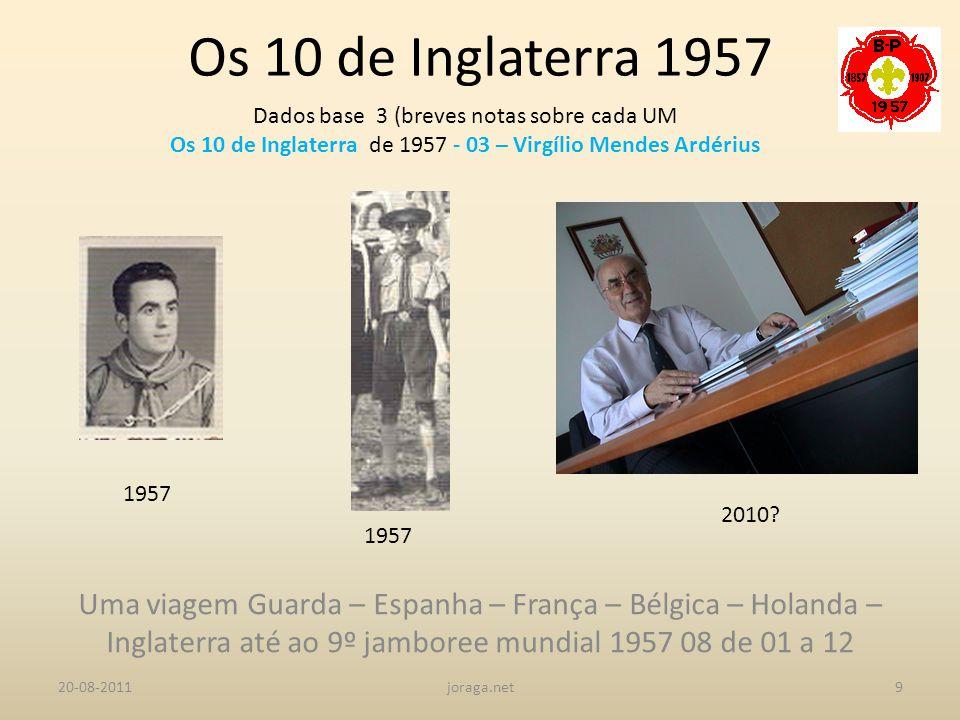Os 10 de Inglaterra 1957 Dados base 3 (breves notas sobre cada UM. Os 10 de Inglaterra de 1957 - 03 – Virgílio Mendes Ardérius.