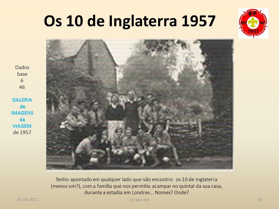 Os 10 de Inglaterra 1957 Dados base 6 46 GALERIA de IMAGENS da VIAGEM