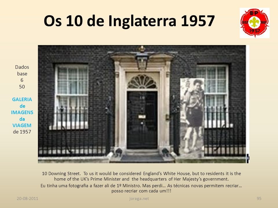 Os 10 de Inglaterra 1957 Dados base 6 50 GALERIA de IMAGENS da VIAGEM