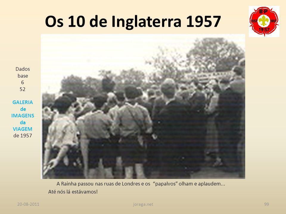 Os 10 de Inglaterra 1957 Dados base 6 52 GALERIA de IMAGENS da VIAGEM