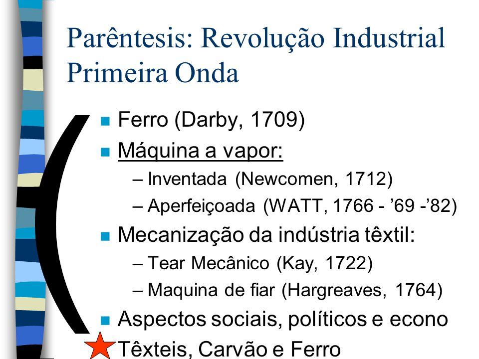 Parêntesis: Revolução Industrial Primeira Onda