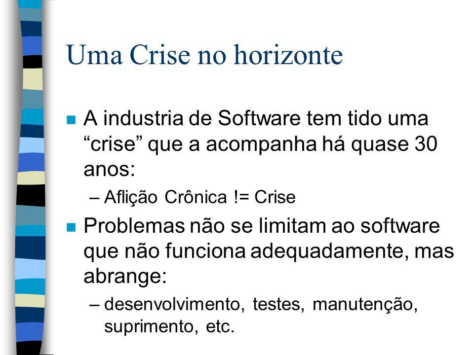 Uma Crise no horizonte A industria de Software tem tido uma crise que a acompanha há quase 30 anos: