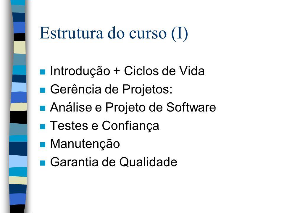Estrutura do curso (I) Introdução + Ciclos de Vida